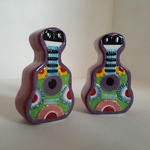 Mexican mariachi guitar salt & pepper shakers
